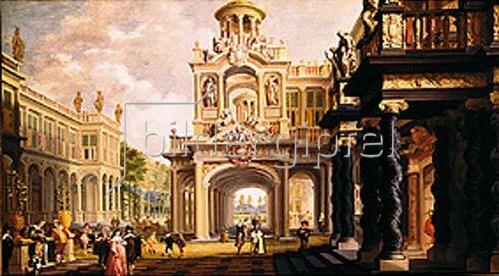 Dirck van Delen: Großer Gartenpalast. (Figuren eventuell von Anthonie Palamedesz).