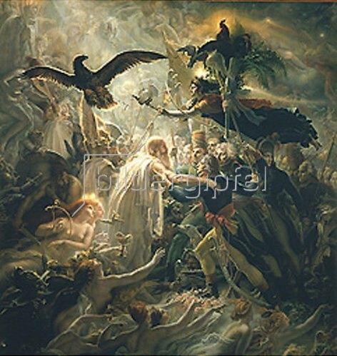 Anne Louis Girodet de Roussy-Trioson: Die toten Helden Frankreichs werden von Viktoria in Odins Palast geleitet.