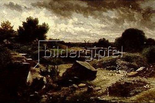 Anton Teichlein: Abendlandschaft mit Felsen.