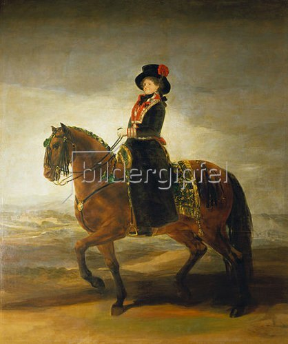 Francisco José de Goya: Die Königin Maria Luisa zu Pferde.