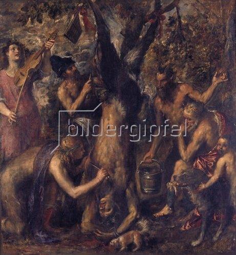 Tizian (Tiziano Vecellio): Apollo bestraft Marsyas.