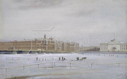 Nikolai Konstantinov Bool: Ansicht des Winterpalastes über die vereiste Newa hinweg. (St.Petersburg).