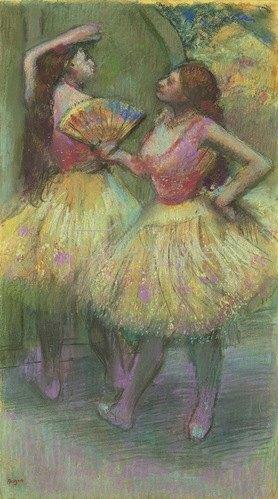 Edgar Degas: Zwei Tänzerinnen bevor sie auf die Bühne gehen. Um 1888