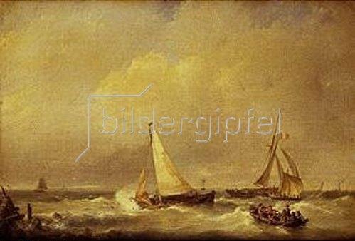 Hermanus Koekkoek: Meerlandschaft mit Segelschiffen und einem Ruderboot.