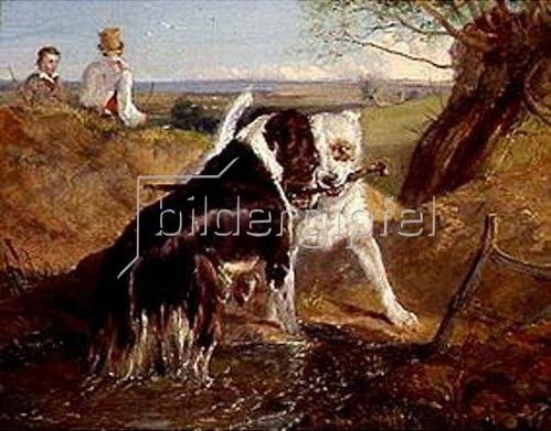 Sir Edwin Henry Landseer: Zwei Hunde im Kampf um ein Stöckchen.