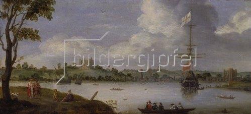 Adriaen van Stalbemt: Blick von Nordosten auf den Greenwich- Palast, mit einem Kriegsschiff vor Anker.