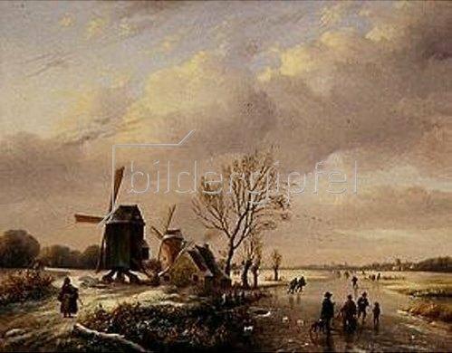 Louis (Verboeckhoven) Verwee: Winterl.Flußlandschaft mit Eisläufern und Windmühlen.