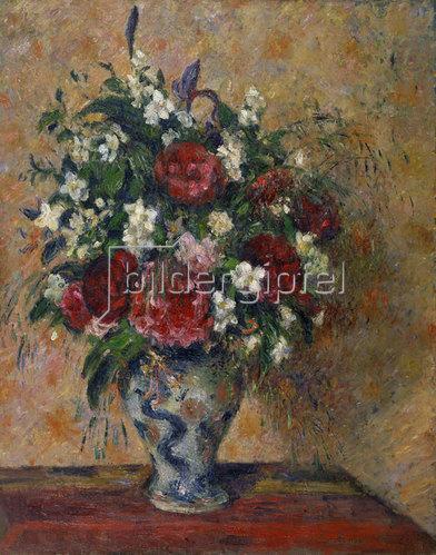 Camille Pissarro: Stillleben mit Pfingstrosen und Pfeifenstrauch. 1872-77