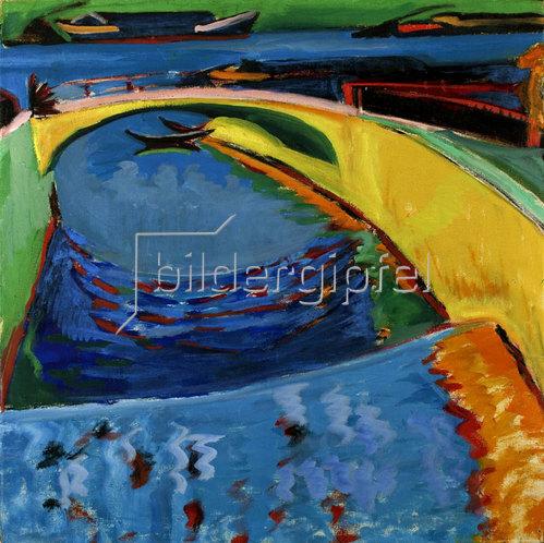 Ernst Ludwig Kirchner: Brücke an der Prießnitzmündung. Um 1910