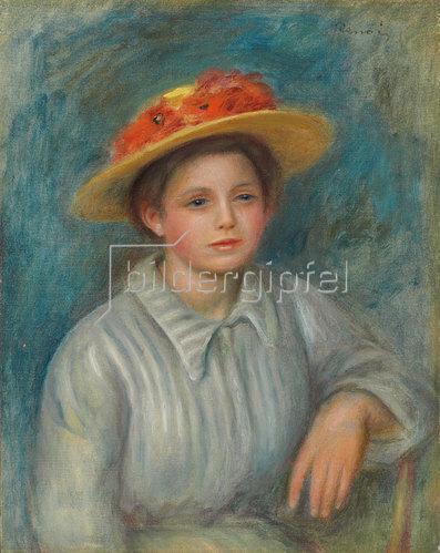 Auguste Renoir: Portrait einer Frau mit Blumenhut. Um 1890