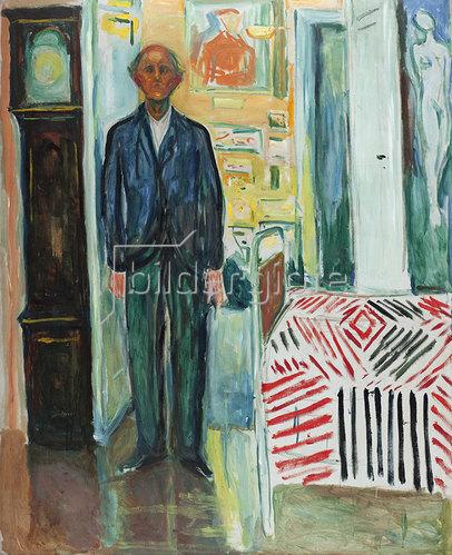 Edvard Munch: Selbstporträt zwischen Uhr und Bett