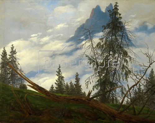 Caspar David Friedrich: Berggipfel mit ziehenden Wolken. Um 1835