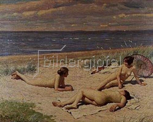 Paul Fischer: Strandszene mit nackten Frauen.