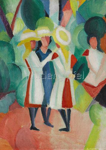 August Macke: Drei Mädchen mit gelben Strohhüten (I). 1913