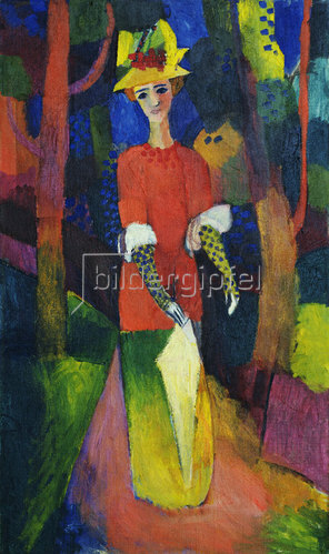 August Macke: Dame im Park. 1914