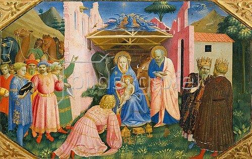 Fra Angelico: Die Anbetung der Könige. Predella des Altars Verkündigung Mariae.