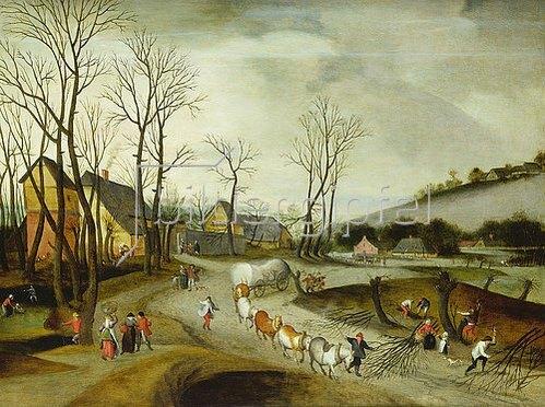 Abel Grimmer: Winterlandschaft mit Gepäckzug und baumfällenden Bauern.