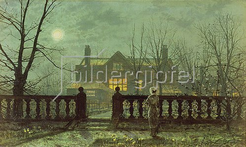 John Atkinson Grimshaw: Abendlicher Garten mit Blick auf ein erleuchtetes Wohnhaus.