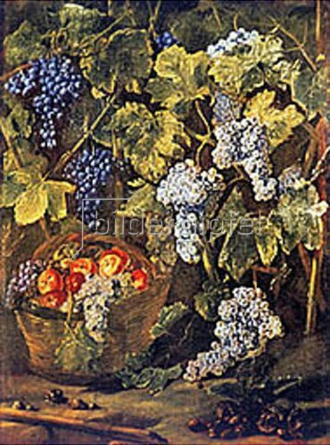 Michelangelo Cerquozzi: Stillleben mit Obstkorb, Kastanien und Trauben.