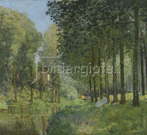 Alfred Sisley: Rast am Flussufer. Am Waldrand (Le repos au bord du ruisseau. Lisière de bois). 1872