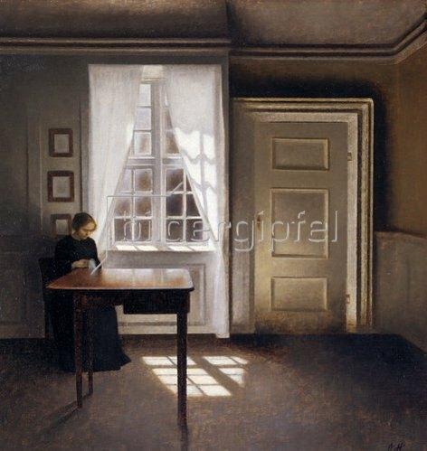 Vilhelm Hammershoi: Nähende Frau am Fenster.