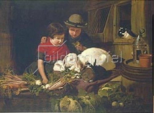 John Frederick Herring d.Ä.: Kinder mit Kaninchen. 1851.