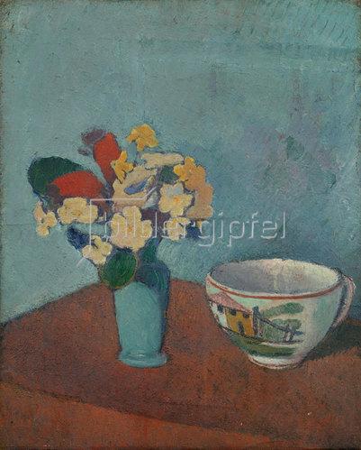 Emile Bernard: Vase mit Blumen und Tasse. 1887-88