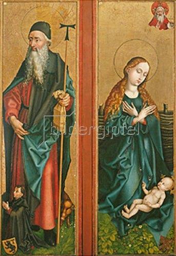 Martin Schongauer: Zwei Flügel vom Orliac-Altar: Der hl. Antonius und Maria, das Kind anbetend.