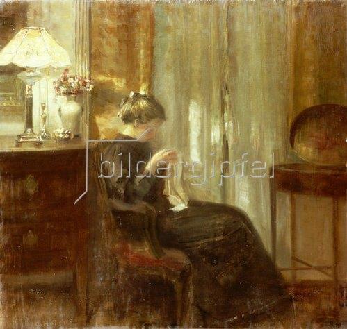 Carl Holsoe: Handarbeitende Frau in einem Innenraum.