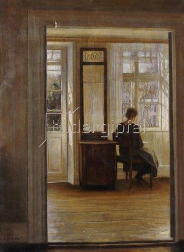 Carl Holsoe: Lesend am Fenster.