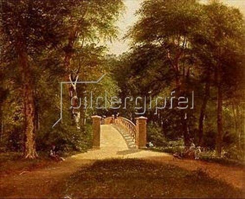 Carl Ludwig Ferd Messmann: Park mit Brücke in Kopenhagen. 1855.