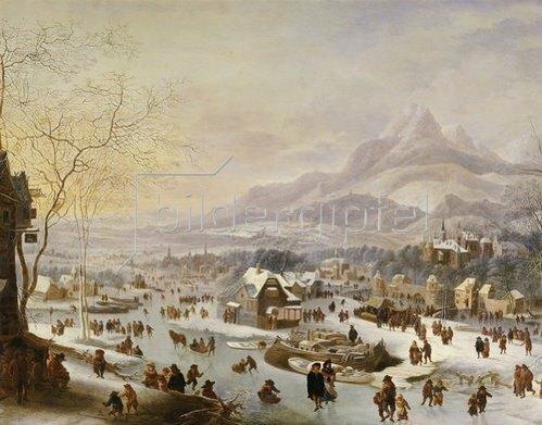 Robert Griffier: Große winterliche Flußlandschaft an einer Stadt vor dem Gebirge.