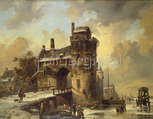 Jan Michael Ruyten: Winterliche Flußlandschaft an einem alten Stadttor. 1844