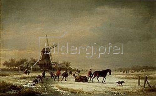 Eugene Joseph Verboeckhoven: Winterlandschaft an einer Windmühle.1865