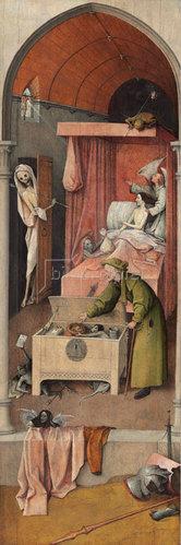 Hieronymus Bosch: Der Tod und der Geizhals. Um  1485/1490