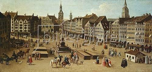 Joseph Stephan: Ansicht des Marienplatzes zu München, ca. 1750. Detail.