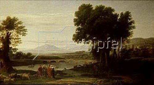 Ramsey Richard Reinagle: Jakob mit Laban und seinen Töchtern in einer weiten Landschaft. Nach Claude Lorrain.