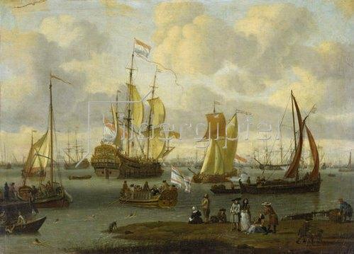 Abraham J. und Schüler Storck: Spaziergänger am Ufer des Flusses Ij mit Schiffen. 1693.