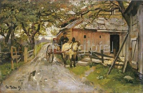 Frits Thaulow: Ein kleiner Schwatz vor dem Bauernhaus. 1889.