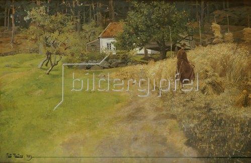 Frits Thaulow: Bauersfrau bei der Erntearbeit. 1889.