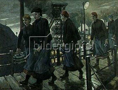 Hans Baluschek: Zechenarbeiterinnen auf einer Hängebrücke. 1913
