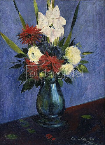 Oskar Schlemmer: Blumenvase mit Gladiolen und Dahlien. 1925.