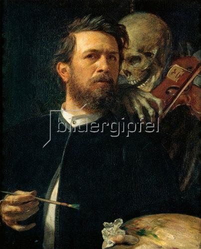Arnold Böcklin: Selbstporträt mit fiedelndem Tod. 1872.