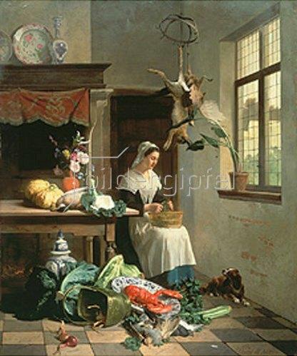 David Emile Joseph de Noter: Küchenmädchen bei der Arbeit. 1861.