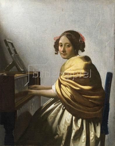 Jan Vermeer van Delft: Eine junge Frau, am Virginal sitzend. Um 1670.