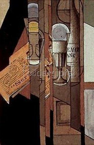 Juan Gris: Gläser, Zeitung und Weinflasche.