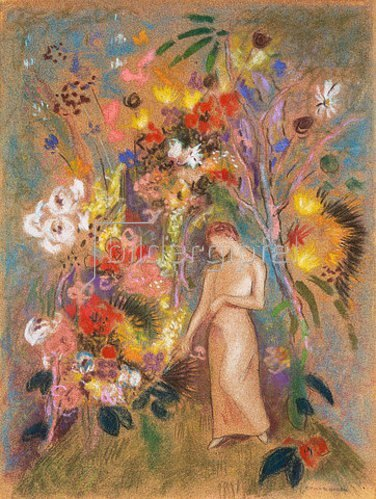 Odilon Redon: Frauengestalt in Blumen. 1904.
