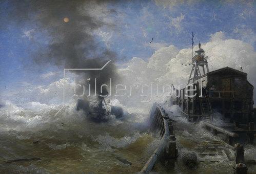 Andreas Achenbach: Ein Schlepper verlässt den Hafen von Ostende bei Flut. 1878