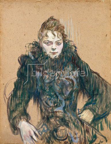 Henri de Toulouse-Lautrec: Die Frau mit der schwarzen Boa (Femme au boa noir). 1892.