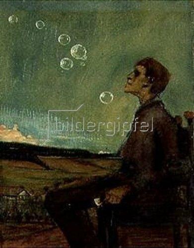 Max Beckmann: Selbstbildnis mit Seifenblasen. Um 1898.